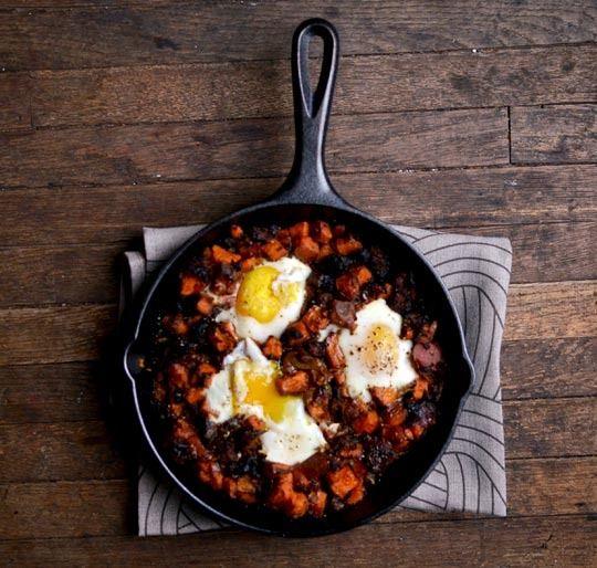 Breaky Breakfasts: Sweet Potato Hash with Sausage & Eggs