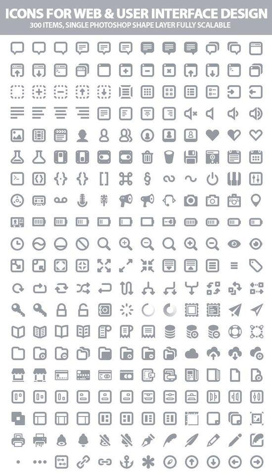 300 Beautiful Icons For Web and User Interface Designers