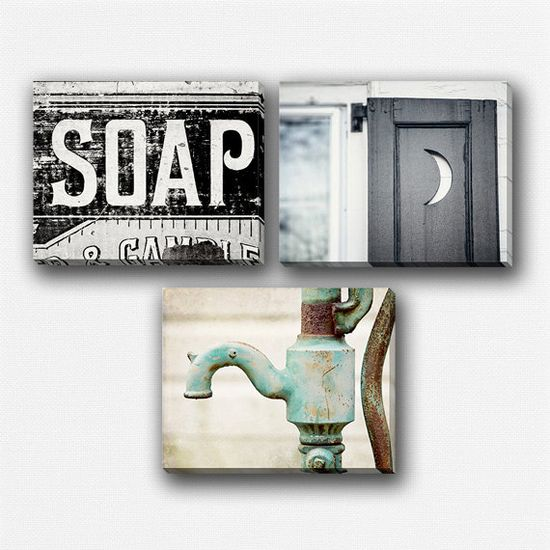 My most popular bathroom set, now in canvas! #canvas #bathroom #decor #home #rustic