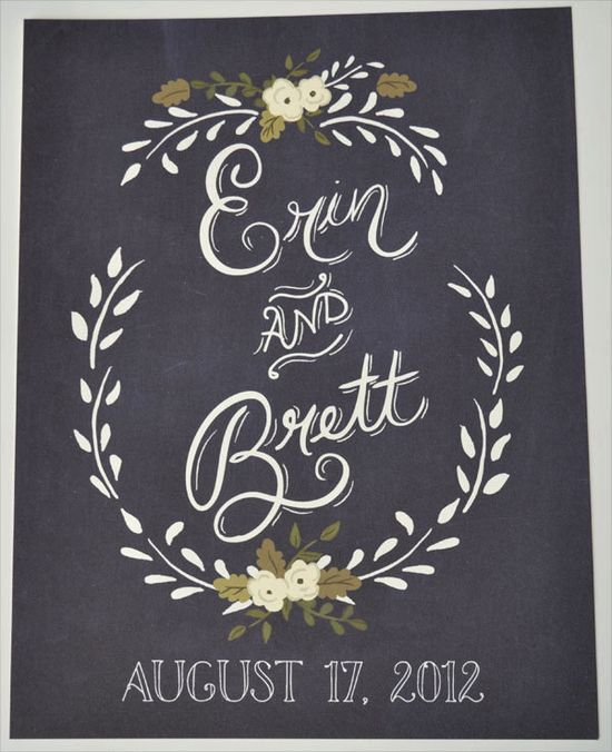 Chalkboard Inspired Wedding Sign Custom with Bride Groom first name and wedding date via Etsy.