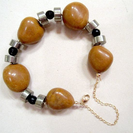 Tan and Black Bracelet Chunky Safety Chain Gemstone by cdjali, $36.00