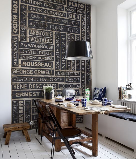 I like this for an accent wall, not necessarily these words but something like this