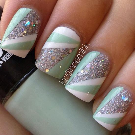 Mint green and glitter nail art nails