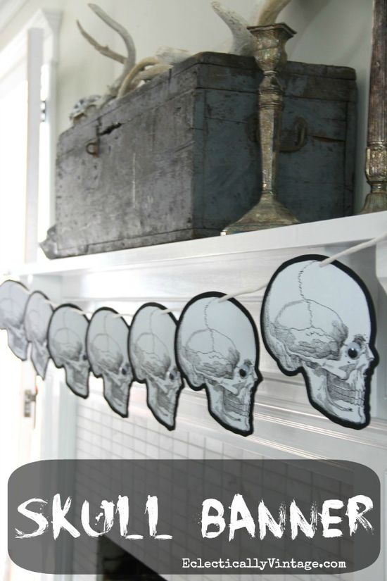 #Halloween Banner - with FREE printable.  eclecticallyvinta...