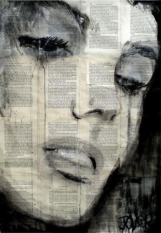 "Saatchi Online Artist: Loui Jover; Pen and Ink, Drawing ""solitude""; drawings on newspaper"