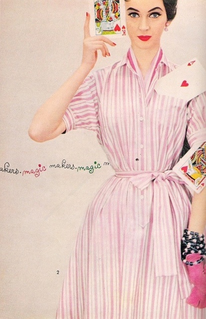 Forget keeping an ace up your sleeve, put it right in your pocket! :) #vintage #1950s #fashion #Dovima #pink #dress #cards