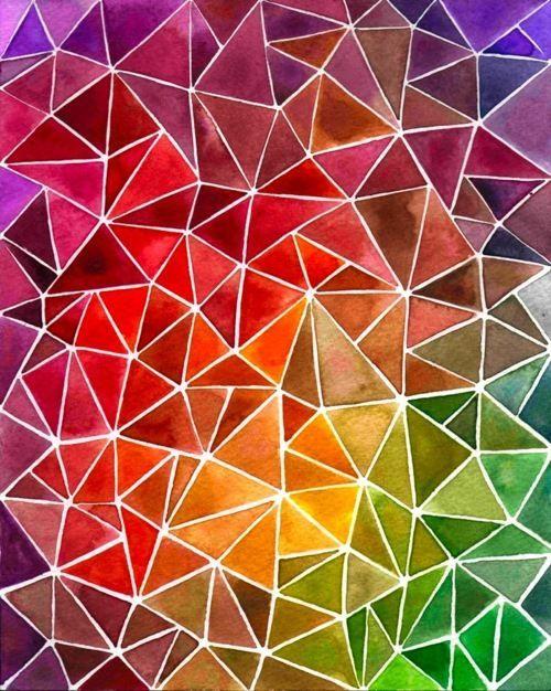 colourful color triangles art