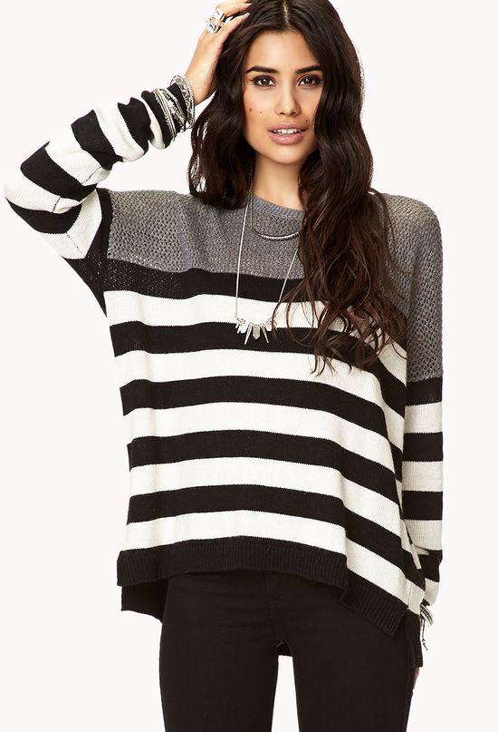 Open-Knit Striped Sweater