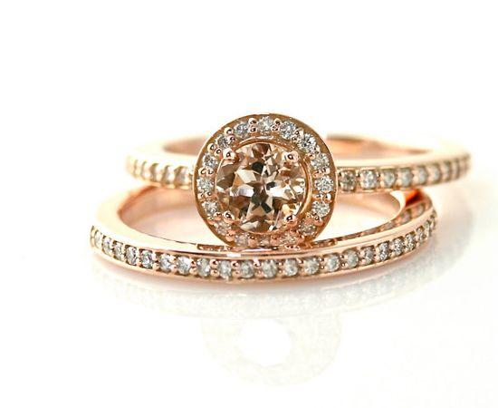 14K Morganite Engagement Ring and Wedding Band