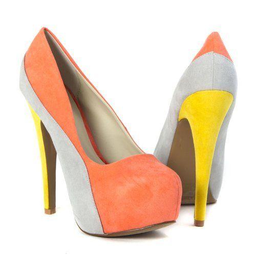 Qupid Womens High Heel Platform Color Block Pumps Stilettos Shoe, Coral Velvet Suede