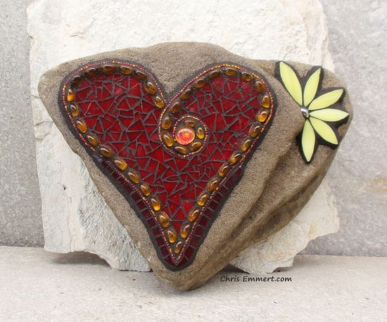 Red Mosaic Heart with Yellow Flower Garden Stone by Chris Emmert