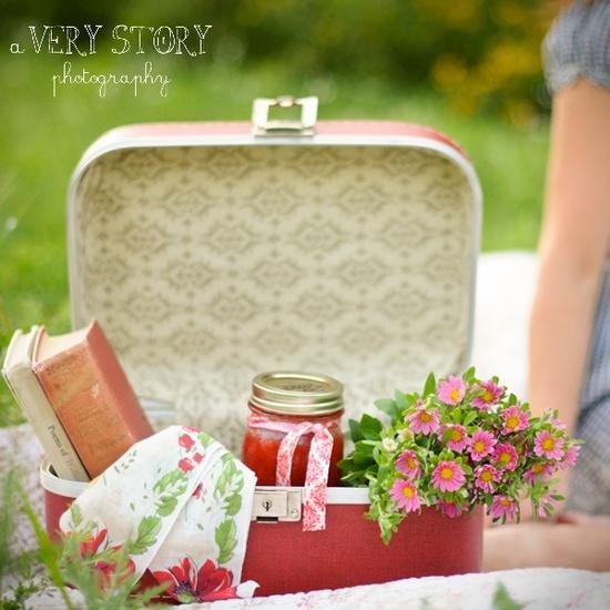 Vintage Suitcase Picnic Basket