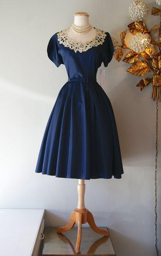 1950s Dress // Vintage 50s Dress // Vintage Navy by xtabayvintage, $198.00