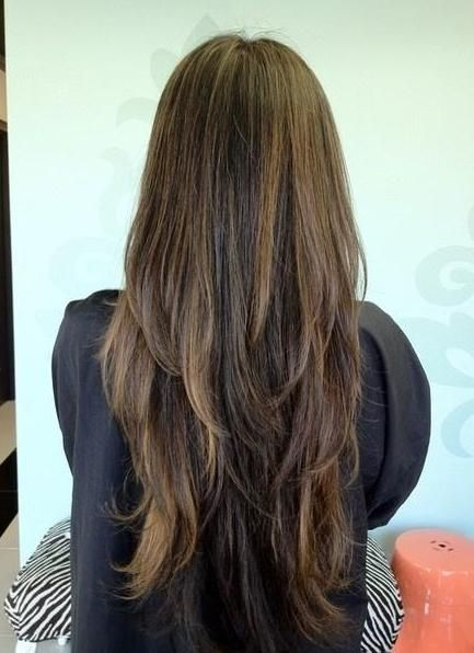 Layered & Long cut - not this.  Want more of a even layer into v   This is too piecey and uneven but great DON'T pic.