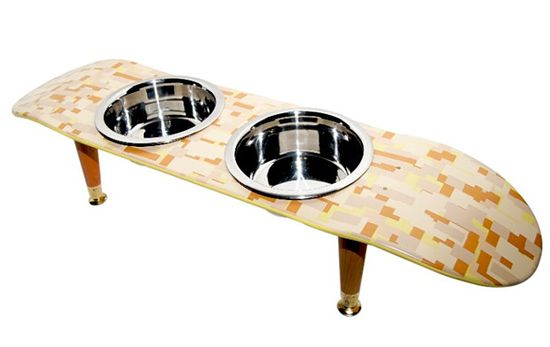 Skateboard pet food bowls #DIY