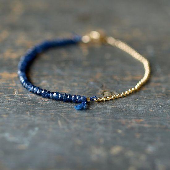 Blue Sapphire Gemstone Bracelet by ShopClementine.