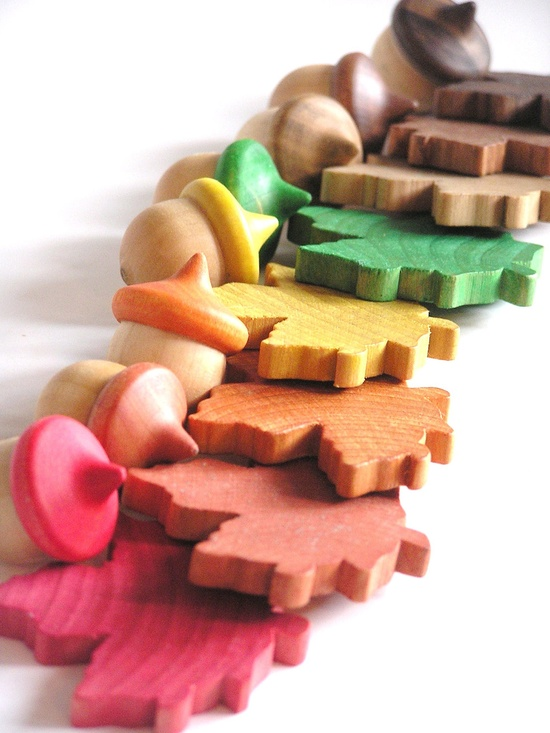 Waldorf Wood Toy- Autumn ACORNS n LEAVES Match Game- Nature Table- Seasonal Decor. $26.00, via Etsy.