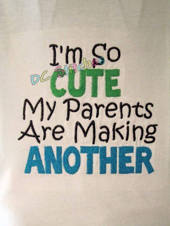 One Sibling shirt for the soon to be Big Brother or by dcstitches, $20.00 if we ever get to announce we are having another baby, this would be cute and different for the boys to wear.