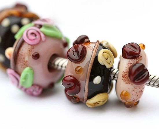 Large hole beads French Chic  handmade lampwork glass by MayaHoney