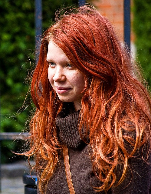 red hair, ombre