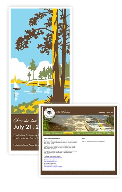 Wedding invitation and website design by Erin Freedman Design