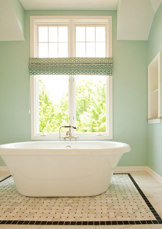"Sherwin Williams ""Tradewind"" loving this color and the tub."