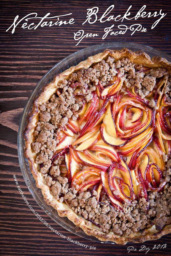 Nectarine Blackberry Open Faced Pie #blackberry #pie
