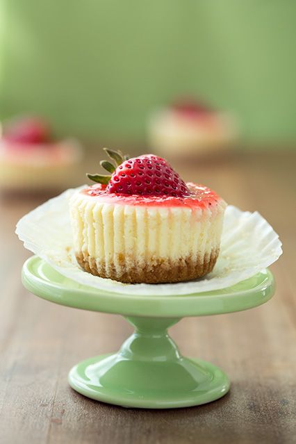 cheesecake cupcakes - with a recipe for strawberry topping or salted caramel. These are the best!!