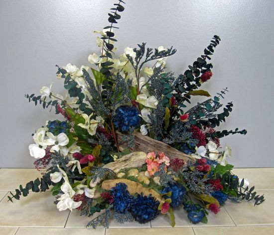 Silk Flower Arrangement with Driftwood and by EverythingFloral
