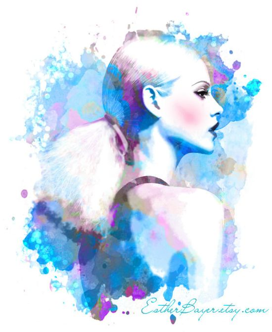 Violet Blue Drops Watercolor Fashion Illustration by EstherBayer