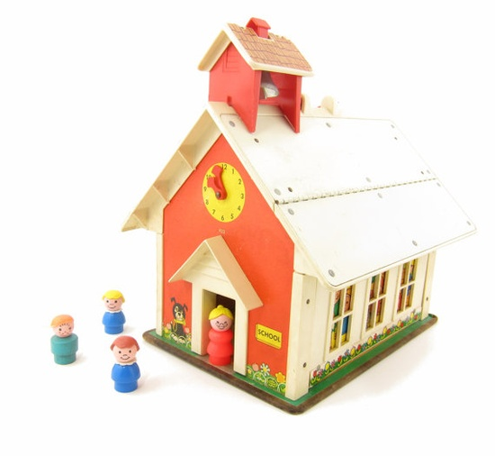 Okay, this wasn't from the 80s, but I *played* with it during the 80s! :) We still have it out in the garage! . . . Vintage Fisher Price School House by BrownEyedRoseVintage on Etsy