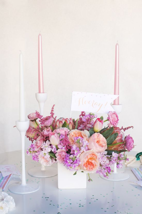pink spring centerpiece // photo by ee photography // styling by Sweet Sunday Events