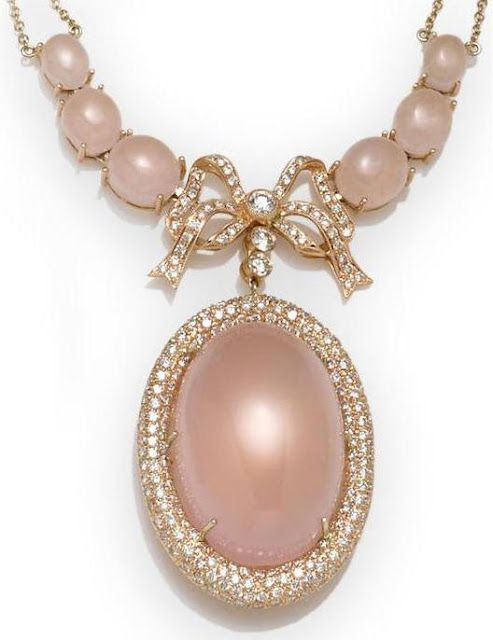 Rose quartz and diamond necklace, via Diamonds in the Library.