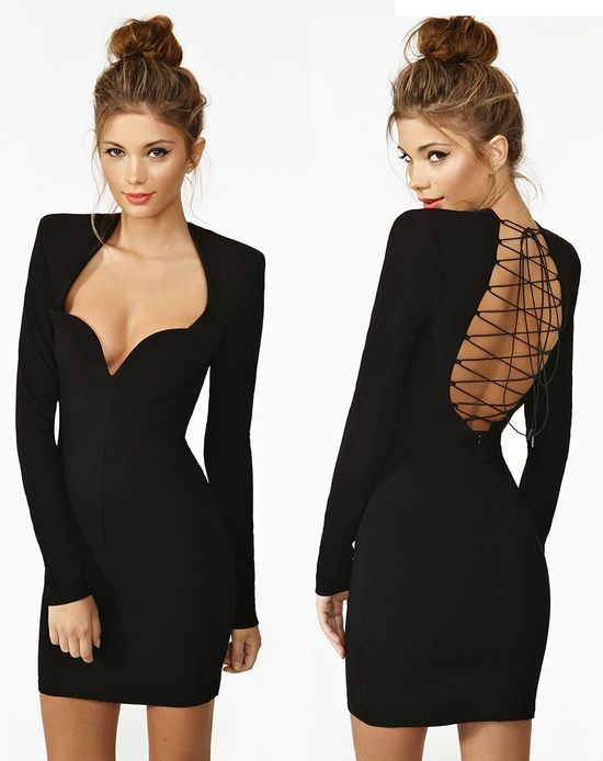 Lace-up little black dress