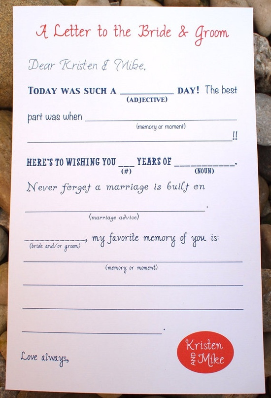 Wedding Mad Lib Letter to Bride and Groom