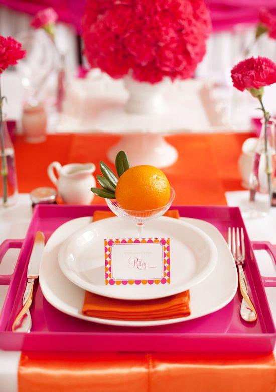 Pancakes & Pajamas pink and orange place setting