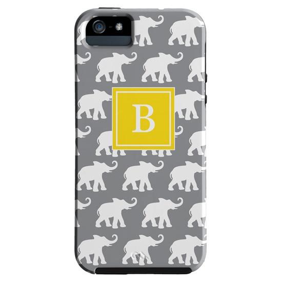 Custom Letter - Elephants Monogrammed iPhone Case