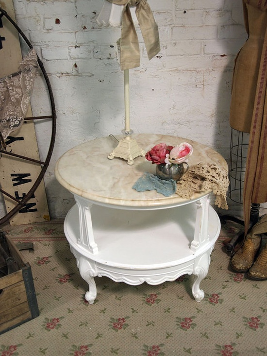 Painted Cottage Chic Shabby White French Marble by paintedcottages, $160.00