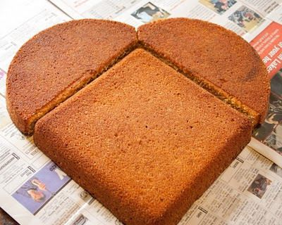 How to assemble a heart-shaped cake for Valentine's Day.