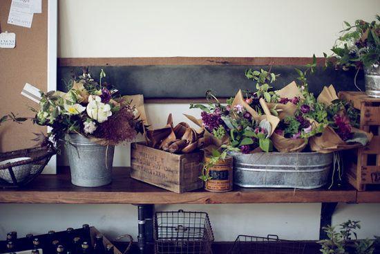flowers in kraft