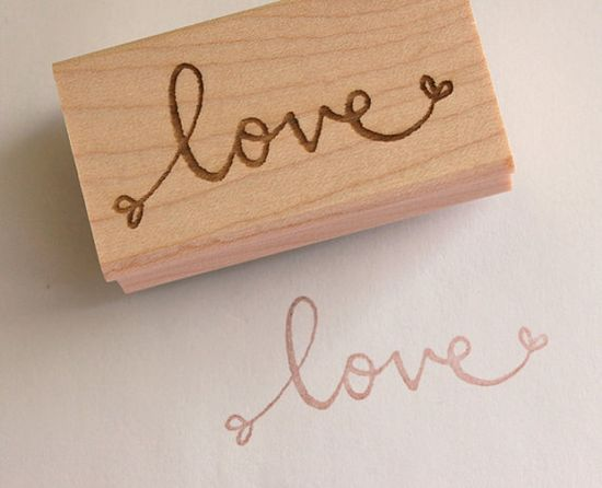 love - wooden rubber stamp