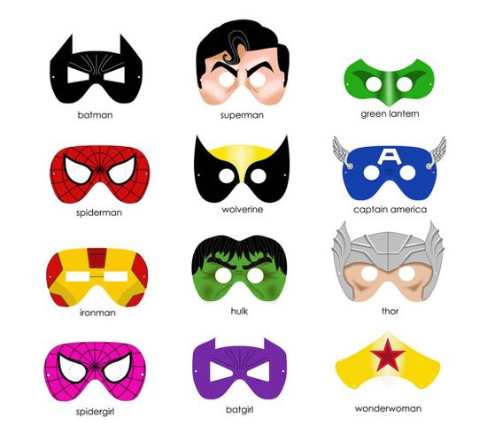 Printable super hero masks. May need these one day.