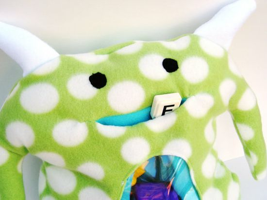 Monster Plush Toy Stuffed Animal Green Unique by quietsunday