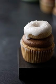 For those times when one dessert food per bite simply isn't enough :) Coffee and Doughnut Cupcakes. #cupcakes #doughnuts #donuts #food #baking #desserts #cute