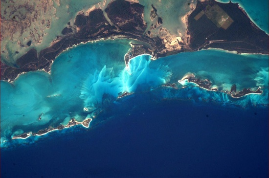 """Astronaut Chris Hadfield's  picture from space.The Bahamas from Expedition 34."""