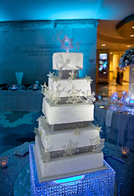 sparkly winter wedding cake with rhinestone cake topper