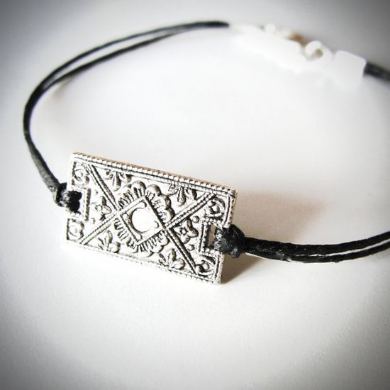"Silver ""Vintage"" Deco bracelet on linen by JewelryByMaeBee on Etsy."