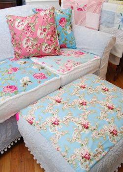 Sofa & ottoman in aqua pink white rose fabrics vintage chenille bedspread slipcover.