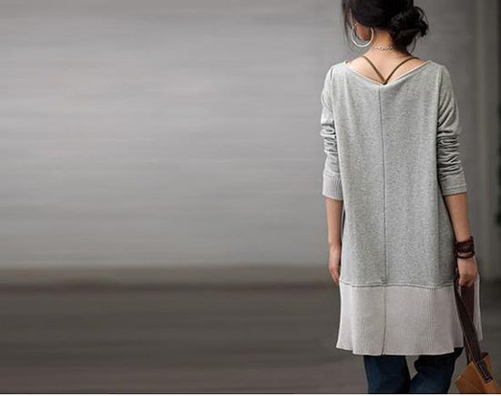 Gray Loose fitting Casual Long Sleeve Cotton by clothingshow