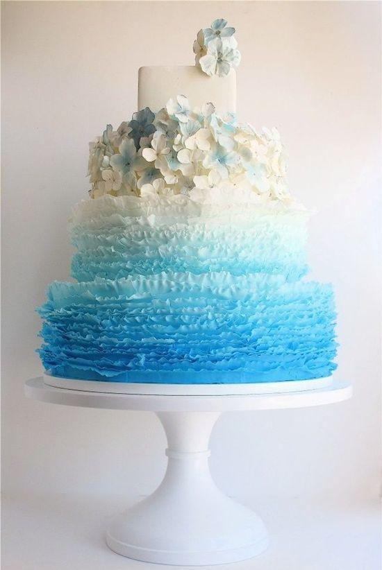 Aqua Ruffled Wedding Cake